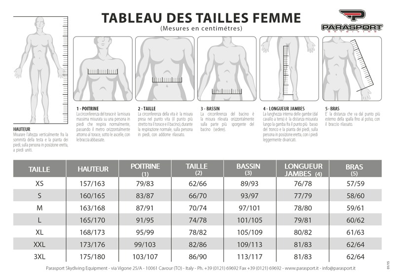 Tableau des tailles femme